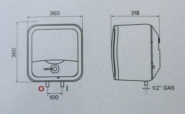 Bản vẽ kỹ thuật bình nóng lạnh Ariston 15L ANDRIS2 LUX