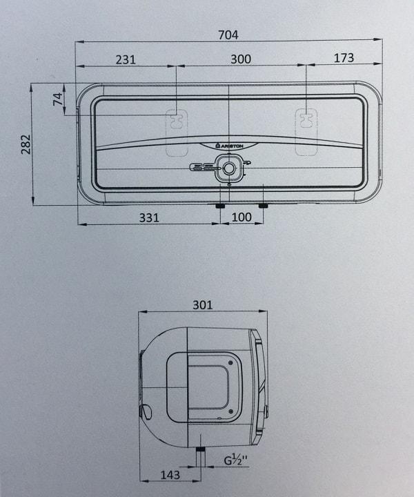 Bản vẽ kỹ thuật bình nóng lạnh Ariston 20L SLIM2 20 RS