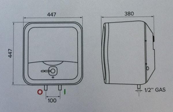 Bản vẽ kỹ thuật bình nóng lạnh Ariston 30L ANDRIS2 LUX
