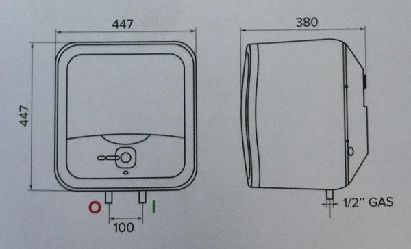 Bản vẽ kỹ thuật bình nóng lạnh Ariston 30L ANDRIS2 RS