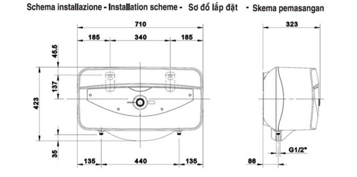 sơ đồ lắp đặt bình nóng lạnh ariston sl30b 30l