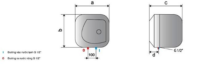 kích thước Bình nóng lạnh Ariston Star 15L